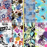 Graffiti graphic print fabric / Graffiti art design printing swimwear and underwear fabric