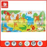 2014 popular child toy silk screen printing 21 pcs wild animal tree river design jigsaw puzzle machine