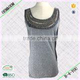Way Out west no sleeve beaded and hand stitch details neckline peplum style jersey knit top Tank