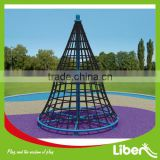 Cone Shape Outdoor Rope Climbing Structure, Kids Outdoor Playground Cliimbing Net Structure