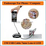 Waterproof USB Endoscope for mobile phone and compute PC laptop 2M Cable 7mm Lens USB Endoscope Pipe Inspection Camera Borescope