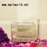 latest metal 3 tier cake stand for cake display with hanging crystals for wedding cake holders (CAKE-010)