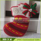 made in china alibaba supplier soft rubber fridge magnet souvenir with christmas sock design for promotional gift items