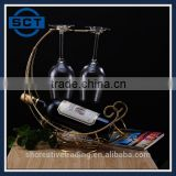 Bronze Color High Quality Pirate Ship Hanging Wine Bottle Rack for One Bottle and Two Glasses