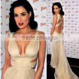 Dita Von Teese Champagne Sexy V-neck Backless Prom Dress Red Carpet Dress spring 2012 backless white gown gallery TPD225