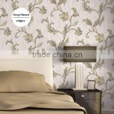 on sale deep embossed pvc wallpaper, ivory country leaves wall paper for home walls , eco-friendly wall sticker manufacturer