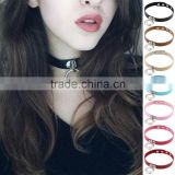 Hot Sale Fashion Sexy Punk Gothic Leather Choker necklace Round Metal Pendant Buckle Collar Anime Necklaces