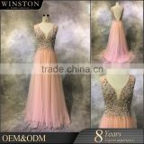 China factory OEM sexy v-neck short chiffon bridesmaid gown 2013