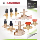 Sanrong Manual Diaphragm Refrigerator Stop Valve, Air Conditioner Globe Valve, 2-Way Brass Shut Off Valves for Refrigeration