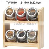 6pcs glass spice jar with wooden rack (TW1019)