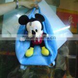 Stuffed and promotional soft mickey mouse animal toy plush backpack with pompom for children