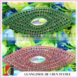 HC-0169 lIndian Sequin Applique with Rhinestone Bling Bling AB Color Stone Applique For Baby Cothes/Olive- Shaped Red Bead Patch