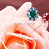 Rhinestone Design Flower Multicolor Scarf Pins China Wholesale Shawl Brooch Muslim Hijab Pins