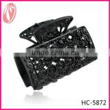 The European fashion easy hair jaw claw, matte black/white metal diamante hair claw clips