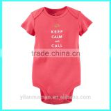 100% cotton cotton baby short sleeve romper baby red bodysuit baby girl romper with new design