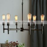 11.29-12 retro flair Edison bulbs plated antique bronze finish and geometric shape Industrial Chandelier