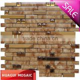 Sparkle beveled mirror glass mix metal crystal glass mosaic wall tiles HG-JS8200