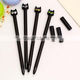 promotional gifts wholesale DIY creative stationery kids personalized Novelty gel pen black cat head design plastic gel pens