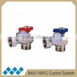 Angle style brass ball valve with temperature guage, angle valve for ground heating water manifold