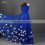 RSE661 One Shoulder Petals And Floras Flowing Skirt Royal Blue Long Teen Prom Dresses