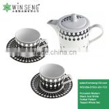 Fine Porcelain Modern Black And White Dotted Pattern Teapot Set With Mugs And Saucers Whole Set WS1059-CF021-231-TC2