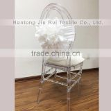 Taffeta Big White Flower Chair Sash For Wedding Luxurious Style High Spandex Double Lycra Bands For Party/Banquet