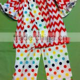 Christmas Clothing Sets Baby Girls Candy Top Pants Sets Kids Chevron Christmas Boutique Outfits