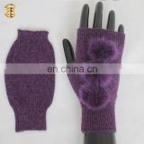 Adults Cute Knitted Wool Gloves Handmade Knitted Gloves with Mink Fur Ball