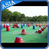 Outdoor Red Blue Air Tight Paintball Bunker In Inflatable Bouncer / Inflatable Barriers For Archery Tag
