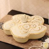 Cream gold ceramics golden hand painted luxury new design unique fruit tray with lid