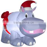 Christmas decoration inflatable giant hippo with red hat