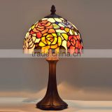 "8""W Rose Flowers Stained Glass Tiffany Style Table Desk Lamp, Zinc Base!Europe table lamp"
