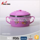 colorful stainless steel bowl with landles and lid                                                                                                         Supplier's Choice