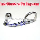 Alloy single ball anal plug with D:40mm cock ring for male, metal butt plug, steel anal hook adult male anal sex toys
