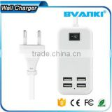 EU US UK Plug Wall 4 USB Charger 15W 3A Portable Travel Power Adapter For ipad iphone for latest 5g mobile phone free sample                                                                                                         Supplier's Choice