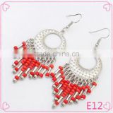Cheap China beautiful handmade light bead tassel earrings