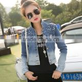 2016 Fashion plastic-based imitation pearl Beads and Washing Long sleeves Short Denim Jacket For Women LD-053