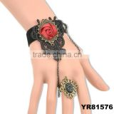 Large Black Lace Slave Armor Bracelet ring Pearl Rose Flower Gem Stone Charms