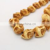 OB088 Antique natural colour hand made carved bone Cat face beads