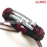 Unique Fashion bracelet macrame with leather and world peace sign alloy in waxed cord AL0053