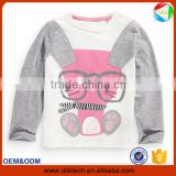 Free shipping rabbit little kids plain long sleeve t shirt for kids wear 100% strench cotton t shirt wholesale China (Ulik-T20)