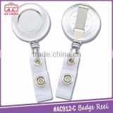 Chrome finish metal plated name badge reel holder with PVC strap