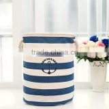 SR1-0009 Reshine Cotton Linen Waterproof Storage Bucket Stripe Printing Folding Laundry Basket For Dirty Clothes