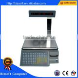 Bizsoft Dahua TM-Aa-5d 30kg electronic weigher printing barcode label in English for supermarket
