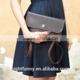 Personalized leather bridesmaid clutch evening bag Cross body leather clutch. Chocolate brown shoulder bag.