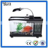 Hot sale electronic mini fish aquarium with pen holder,USB desttop fish aquarium with lamp,multifunction mini fish aquarium on t