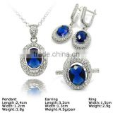 [SZJ-6245c] 925 silver jewelry set with cz stones, cheap silver jewelry set, silver flatware set                                                                         Quality Choice