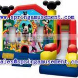 Latest design and cheap inflatable Mickey Mouse combo, inflatable jumping castle, inflatable slip and slide