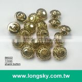 (#B6022/11mm) gold with black metallic sun pattern plastic buttons for stylish shirts from Taiwan