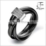 Black Ceramic Rope With Silver Tone Stainless Steel Tricyclic Engagement Ring Anniversary Wedding Band For Ladies